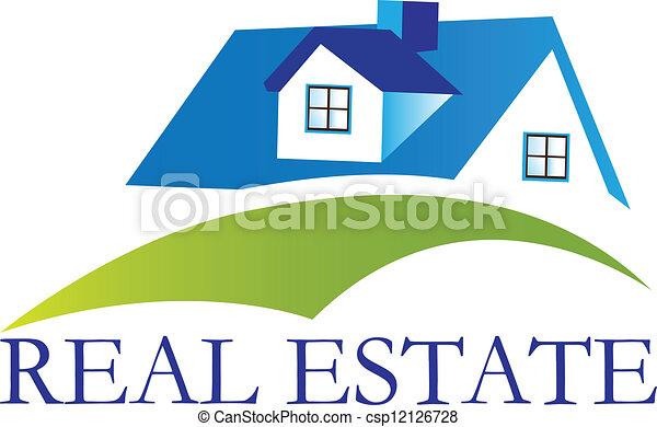 épület, tényleges, jel, vektor, birtok - csp12126728