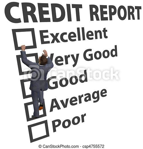 értékelés, ügy, feláll, hitel, bemetsz, épít, ember - csp4755572
