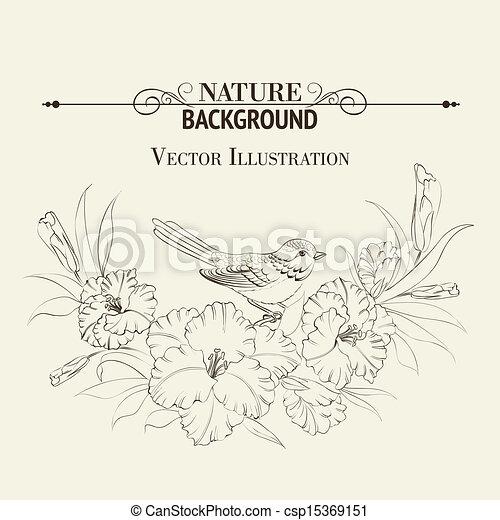 írisz, madár, flower., ülés - csp15369151
