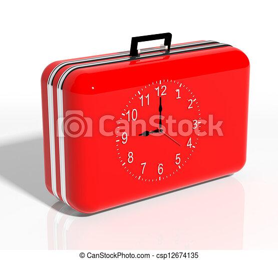óra, utazás, szünidő, time., bőrönd, piros - csp12674135