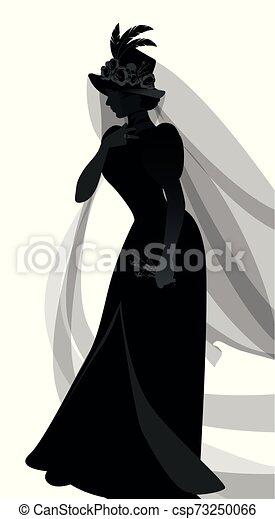 öltözék, horgol, gally, függöny, fehér, ősi, egy, árnykép, elszigetelt, háttér, menstruáció, szállítás, díszes, kalap, kezezés., skull., nő, özvegyasszony, agancsrózsák, öltözött - csp73250066