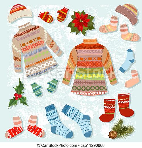 öltözet, meleg, állhatatos, tél - csp11290868