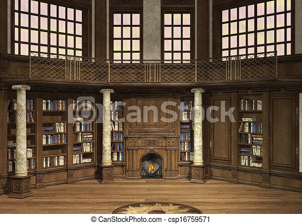 öreg, könyvtár - csp16759571