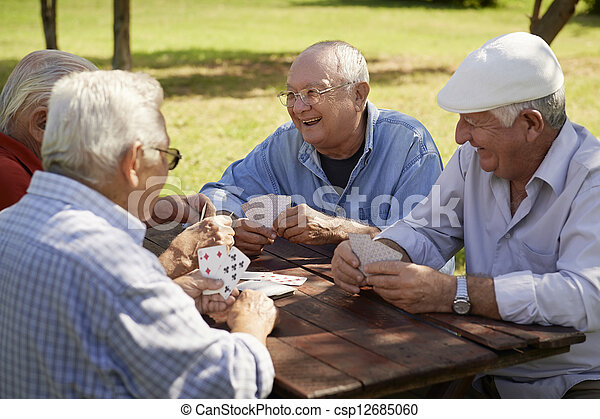 öreg, seniors, liget, aktivál, kártya, csoport, barátok, játék - csp12685060