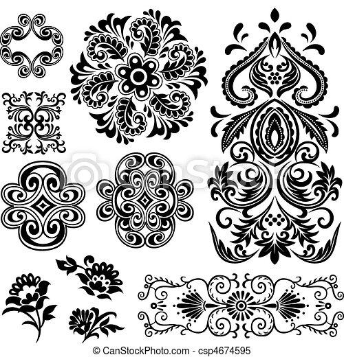 örvény, floral tervezés, elképzel, motívum - csp4674595