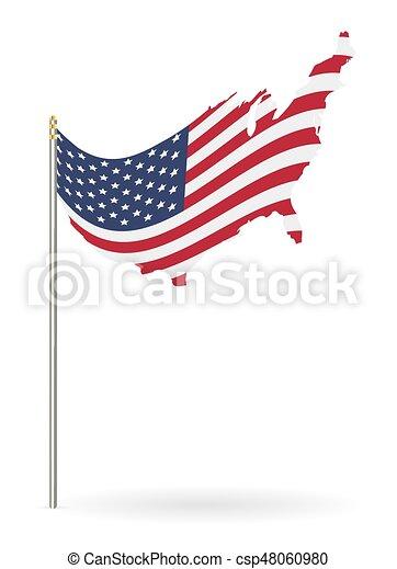 összehangol megállapít lobogó, háttér, fehér, amerika - csp48060980