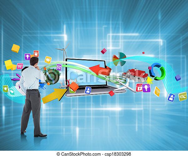 összetett, kéz, üzletember, áll, kép, figyelmes - csp18303298