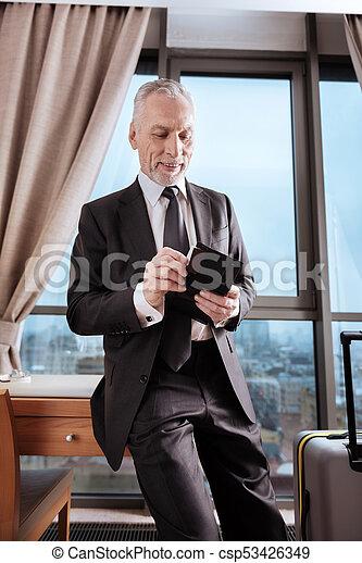 övé, hitel, alapít, senior bábu, kártya, boldog - csp53426349