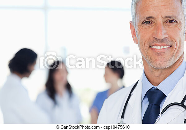 övé, orvos, internál, mosolygós, mögött, őt, orvosi - csp10475610