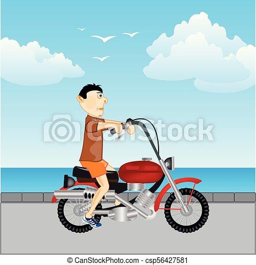 út, motorkerékpár, ember - csp56427581