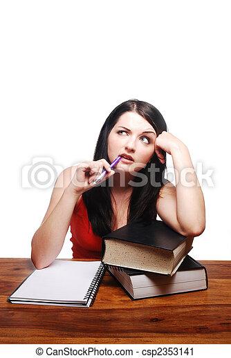 ülés, megzavarodott, jegyzettömb, íróasztal, leány - csp2353141