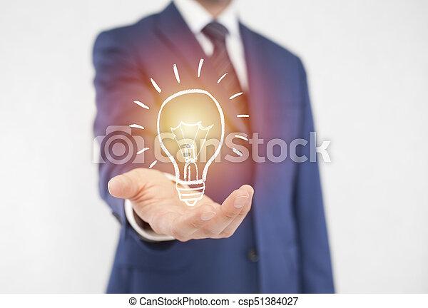 üzletember, fény, gondolat, gumó - csp51384027