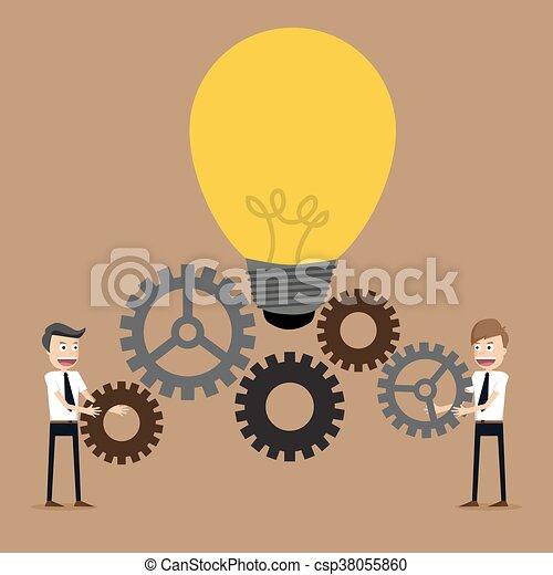 üzletember, fogaskerék-áttétel, munka, ábra, befog - csp38055860