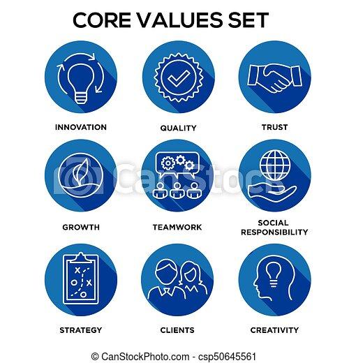 -, indulat, mag, vagy, becsületesség, látomás, becsül, becsületesség, misszió, együttműködés, becsül, gól, állhatatos, ikon, összpontosít - csp50645561