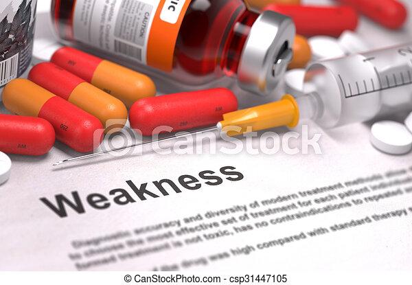 -, orvosi, weakness., concept., diagnózis - csp31447105
