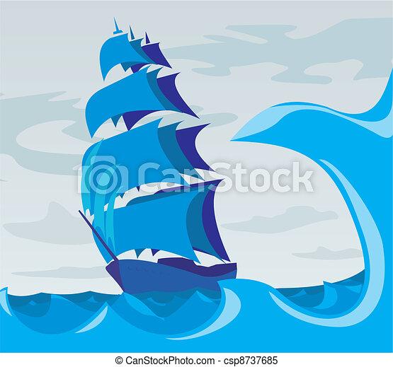 -, sailer, lélek, tenger, adven - csp8737685