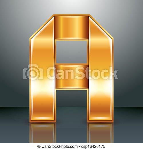-, szalag, fém, levél, arany - csp16420175