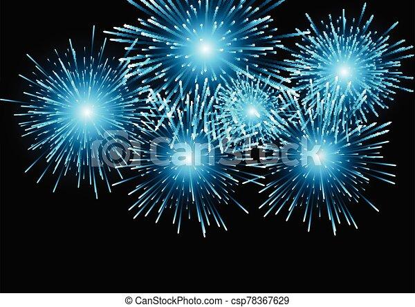 1411, háttér, kék, tűzijáték - csp78367629