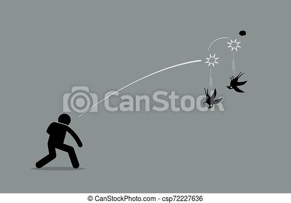 2 madár, egy, gyilkolás, stone. - csp72227636