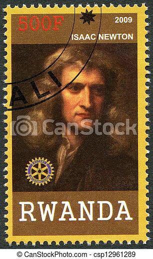 2009:, newton, -, ruanda, portré, isaac, (1642-1727), látszik - csp12961289
