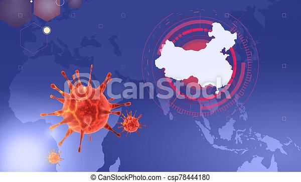 2019-ncov., új, 3, coronavirus, ábra - csp78444180