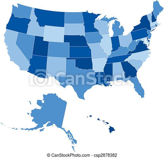 50, egyesült államok, usa, homály, kék - csp2878382