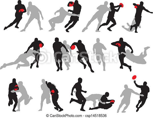 akció, árnykép, beállít, csoport, rögbi - csp14518536
