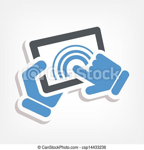 akció, touchscreen, ikon - csp14433236
