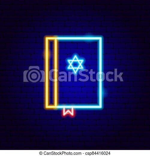 aláír, biblia, neon, zsidó - csp84416024