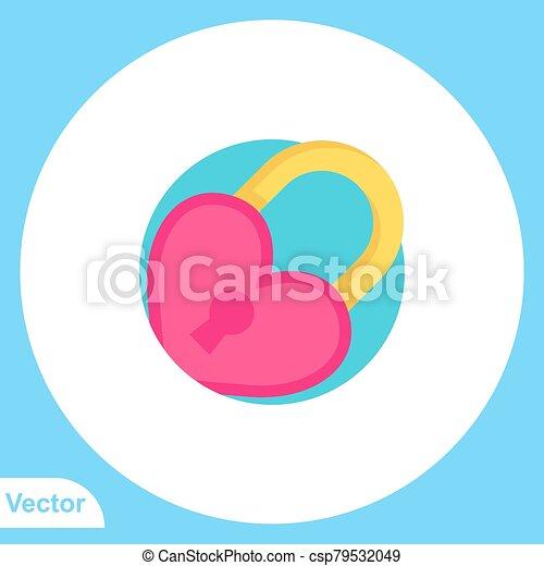 aláír, ikon, lakás, jelkép, vektor, lakat - csp79532049