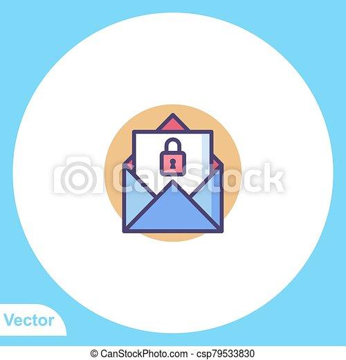 aláír, ikon, lakás, jelkép, vektor, lakat - csp79533830