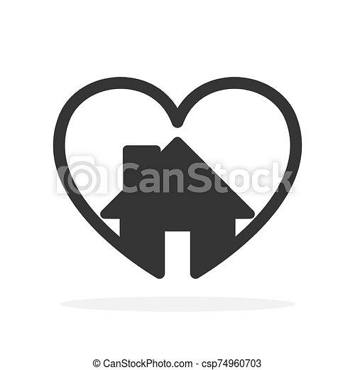 alakít, épület, szív, icon. - csp74960703