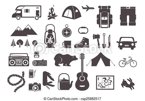 alapismeretek, kempingezés, ikonok, természetjárás, -, állhatatos - csp25882517
