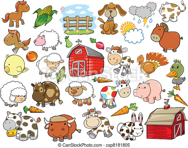 alapismeretek, tanya, vektor, tervezés, állat - csp8181805