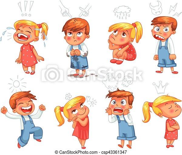 alapvető, karikatúra, emotions., furcsa, betű - csp43361347