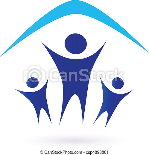 alatt, -, család, tető, ikon - csp4893801