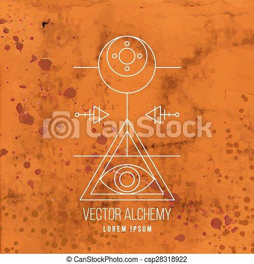 alkímia, jelkép, vektor, geometriai - csp28318922