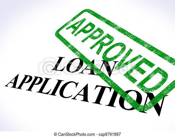 alkalmazás, kölcsönad, egyezmény, hitel, jóváhagyott, látszik - csp9791897