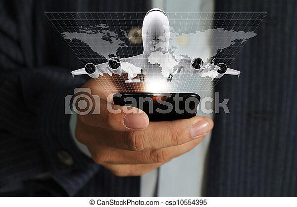 alkalmaz, mindenfelé, ügy telefon, mozgatható, utazás, kéz, folyó, világ, ember - csp10554395