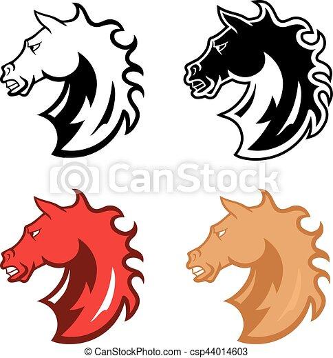 amerikai félvad ló, fej, kabala - csp44014603