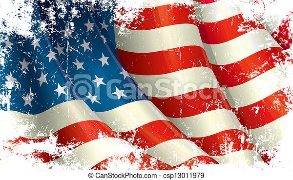 amerikai, grunge, lobogó - csp13011979