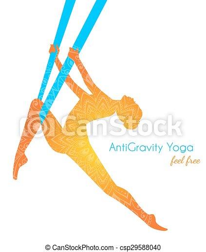 anti-gravity, beállít, nő, jóga, árnykép - csp29588040