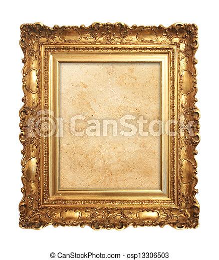 antik, keret, öreg, arany - csp13306503