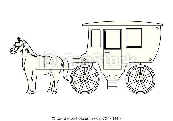 antik, ló, kocsi, fekete, állat, fehér, traktor - csp72773445