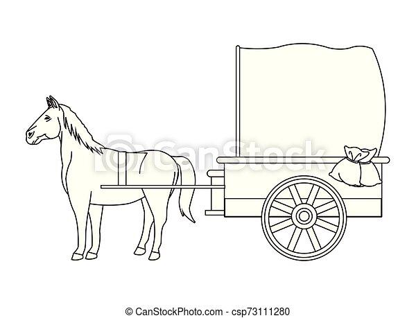 antik, ló, kocsi, fekete, állat, fehér, traktor - csp73111280