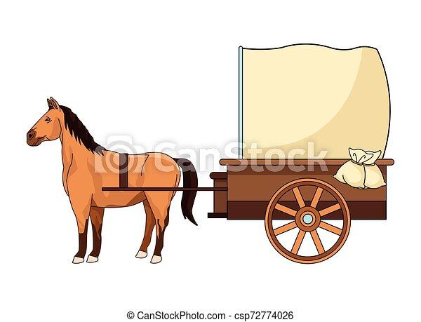 antik, ló, kocsi, traktor, állat - csp72774026