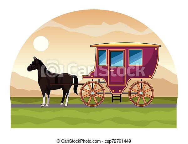 antik, ló, kocsi, traktor, állat - csp72791449