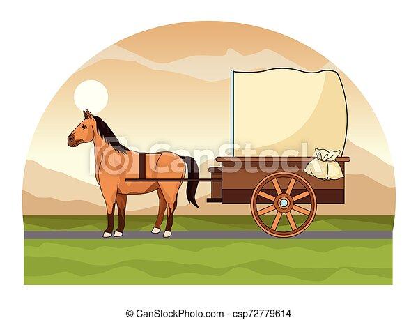 antik, ló, kocsi, traktor, állat - csp72779614