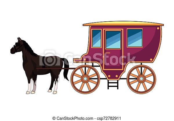 antik, ló, kocsi, traktor, állat - csp72782911
