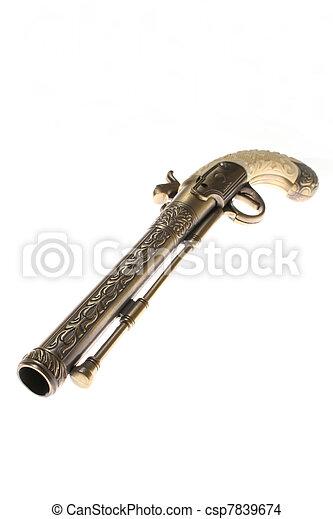antik, pisztoly, fehér, elszigetelt - csp7839674